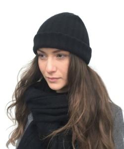 Cashmere Mössa, 2x2 rib Black