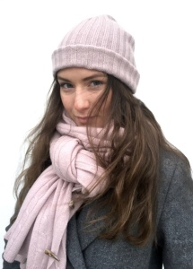 Cashmere Mössa, 2x2 rib, Dusty Pink