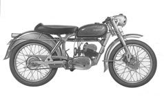 """""""Mod. 282, 1955"""" En av de sista prototyperna före seriestart. Framgaffeln har ännu inte fått sitt slutgiltiga utseende. Det elektriska signalhornet under tanken ersattes med ett bollhorn i början av serietillverkningen."""