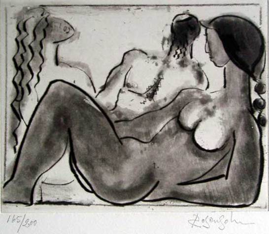 """Lennart Rosensohn 1991, """"Liggande kvinna"""", aquatint"""
