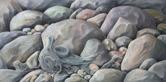 Strandfigur 2016 olja 100 x 50 cm
