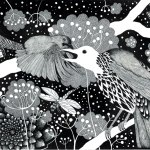 fågel med vitt huvud 47 x 34 cm
