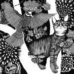 katt och undulat 69 x 49 cm SÅLD