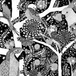 undulater och papegojor 69 x 49 cm SÅLD