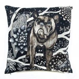 Svartvita bomull - Kuddöverdrag Franska hunden bomull 48x48 cm