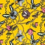 Bugs & Butterflies yellow 147 cm sammet rapport 45x45 cm