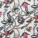 Bugs & Butterflies offwhite 147 cm sammet rapporrt 45x45 cm