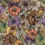 Flower power autumn brown rapport 150x68 cm