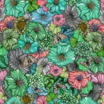 Flower power green rapport 150x86 cm