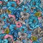 Flower power blue rapport 150x83 cm