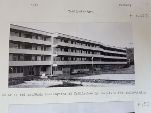 Fotot är hämtat från Hallands kulturhistoriska museum. Bilden visar hus B, Trädlyckevägen 62-74 år 1971.
