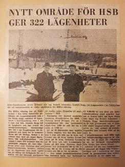 Tidningsartikel ur Hallands-Posten 13/3-1970. På bilden syns t.v HSB-föreståndaren Arvid Ericsson och ingenjör Roland Johansson, Gustafs Bygg.