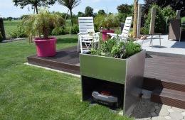 Robotgräsklippare hus/garage med odlingslåda
