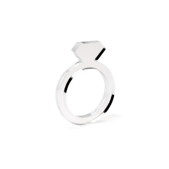Diamond Acrylic Ring Slim Clear - Strl 9 / 19 mm