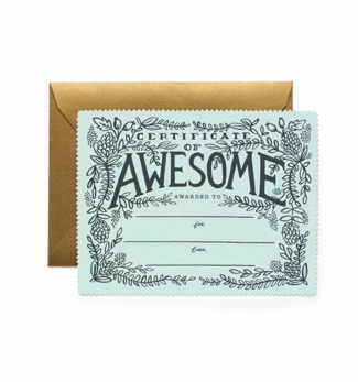 Certificate of awesome - Kort