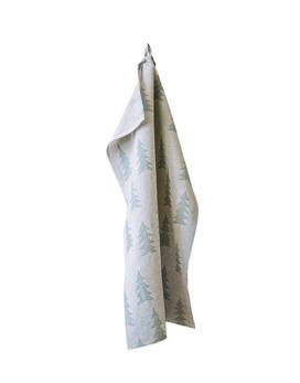 Gran kökshandduk - Tvättat linne natur/mintgrön