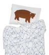 Mountain bäddset - Blå/vit med björn