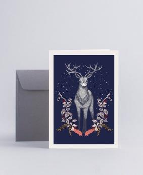 Julkort Deer - Mini