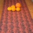 Löpare Kuxablom lin ca 34*115 cm - Löpare Kuxablom orange/svart