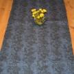 Löpare Kuxablom lin ca 34*115 cm - Löpare Kuxablom blå/svart