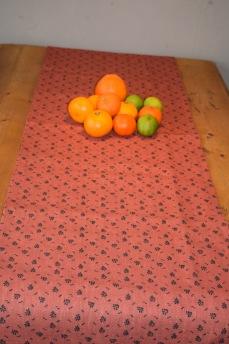 Löpare Kuxablad lin ca 34*115 cm - Löpare Kuxablad orange/svart
