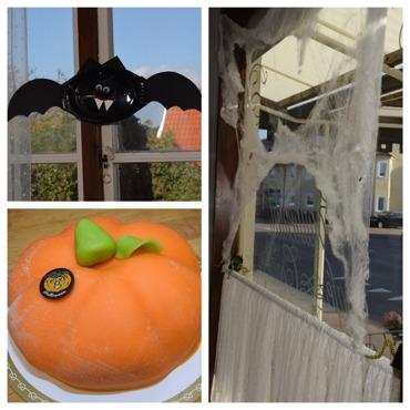 Halloween tårta, signes konditori, halloweenpyssel, fika