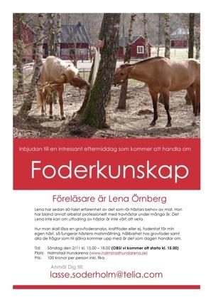 Föreläsning, foderkunskap för häst