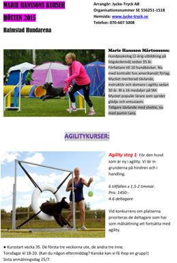 agilitykurser för Marie Hansson
