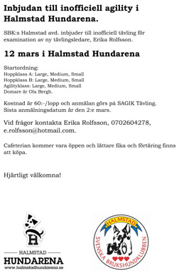 Inofficiell agilitytävling i Halland, Halmstad