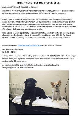 föreläsning träningsfysiologi hund halmstad halland