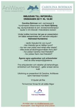 Föreläsning friskvård för hundar i Halmstad