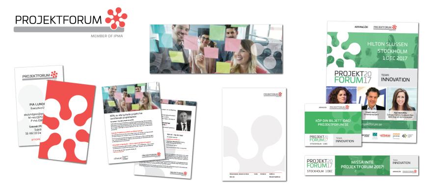 Några av de enheter Grundform tagit fram för Svenskt Projektforum efter färdigställandet av den nya grafiska profilen.
