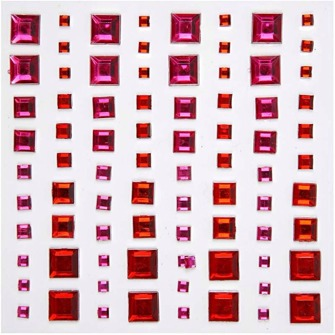 Stenar - Kristaller - Mosaik, röd/pink harmony  stl. 3-4-6-8 mm  Självhäftande fyrkantiga rhinstenar med facetterad framsida och platt baksida. Matchar Vivi Gade Design