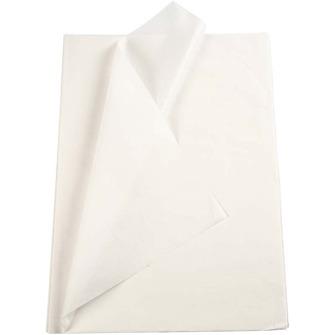 Silkespapper -  KRITVITT - Kritvit ca 100g ca 95-100 st stl ca A4 blad -  för handtillskuret så ojämheter kan förekomma
