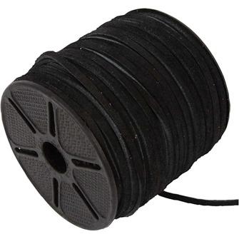 Mockaband - Svart - Mockaband, 3 mm, svart, 1m