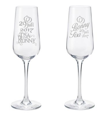 Brudglas - Brudglas 1 par med namn datum samt ringar