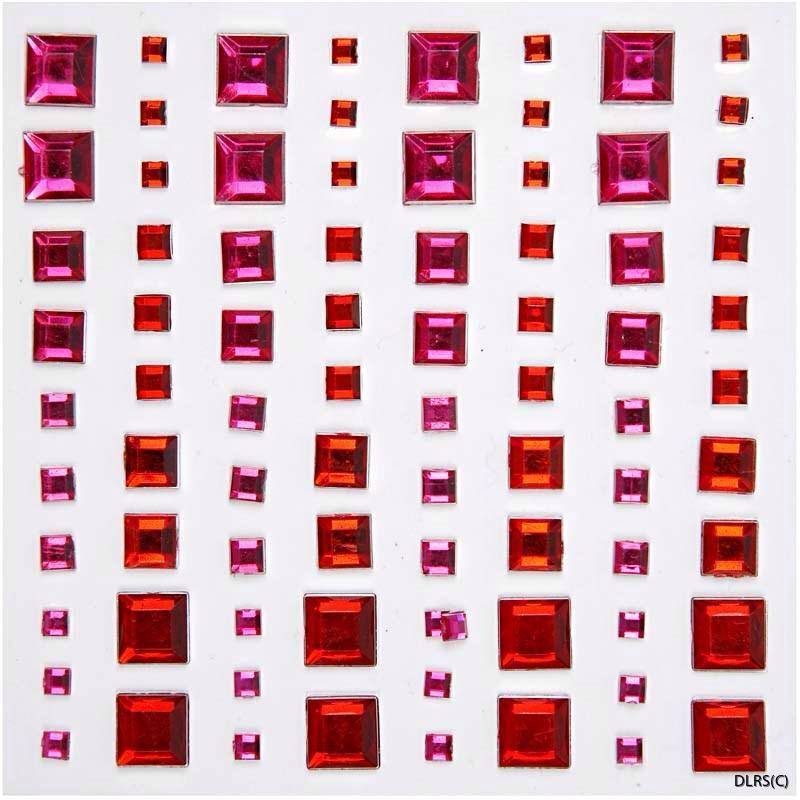 Röd rhinse fyrkanter med klister olika färger o storlek