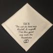 Näsdukar - Bröllop, högtider - N7 Vitprickigt bomullsatin: Tack för att du lärt mig kärlek och respekt Det ahr gjort mig redo för framtiden ( ringar)