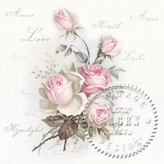 Utförsäljning! Servettpaket sagen - Love Rosor Rosor 33*33