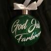 Julkulor - glaskula med glitter o text - Gräsgrön Glaskula 10 cm God Jul XXX (skrivnamn i kassan)