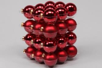 Glaskulor - Julkulor 6cm - 6 cm, 36st, julröda julgrans glaskulor mix