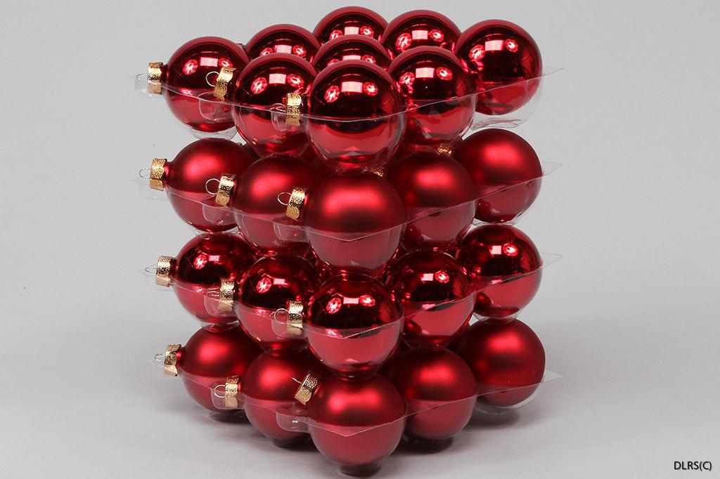 103214 Julröda julgrans glaskulor 6 cm mix