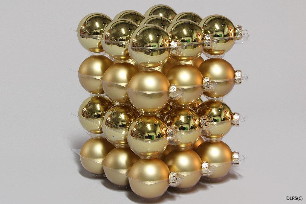 110214 Guld julgrans glaskulor 6 cm mix