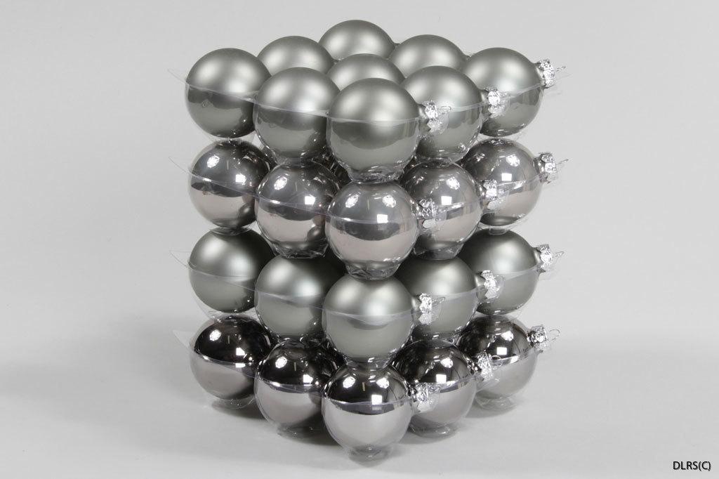 100774 basgrå glaskulor julgranskulor 6 cm mix