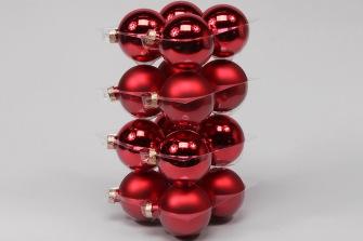 Glaskulor - Julkulor 8cm - 8 cm, 16st  julröda julgrans glaskulor  mix