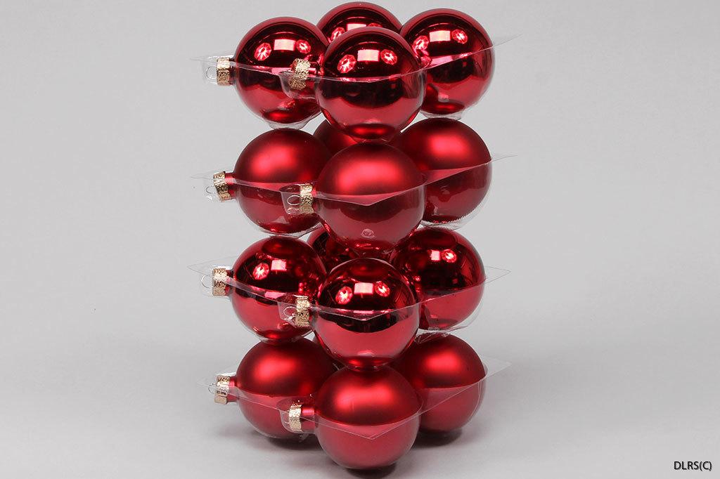 8 cm, 16st  julröda julgrans glaskulor