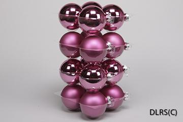 8 cm, 16st Mörk Rosa julgrans glaskulor 8 cm mix