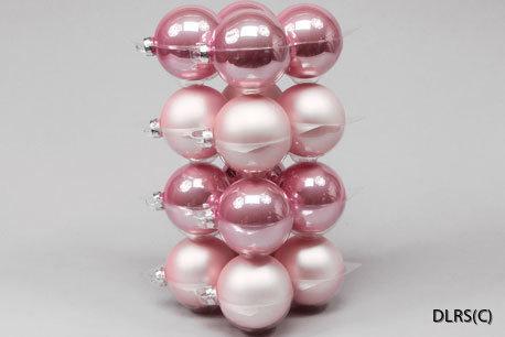 124316 Rosa julgrans glaskulor 8 cm mix