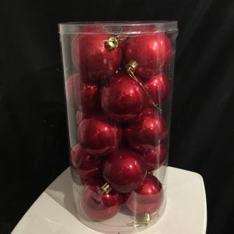 Julkulor Plast dia. 6cm - RÖD BLANK Julgranskulor, dia. 6 cm, röd  20st.