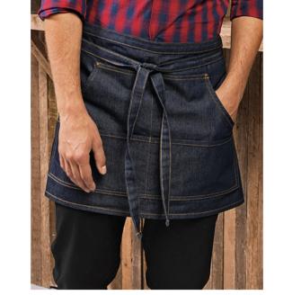 FÖRKLÄDE MED TRYCK - 1/ Blåjeans-förkläde med tryck  4 fickor